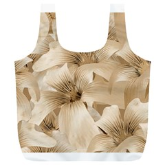 Elegant Floral Pattern in Light Beige Tones Reusable Bag (XL)