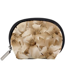 Elegant Floral Pattern in Light Beige Tones Accessory Pouch (Small)