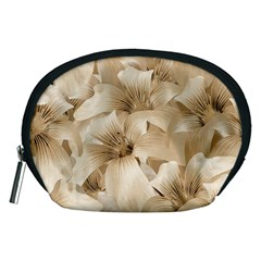 Elegant Floral Pattern in Light Beige Tones Accessory Pouch (Medium)