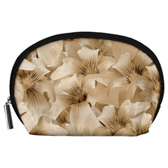 Elegant Floral Pattern In Light Beige Tones Accessory Pouch (large)