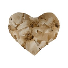 Elegant Floral Pattern in Light Beige Tones 16  Premium Flano Heart Shape Cushion