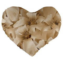 Elegant Floral Pattern in Light Beige Tones 19  Premium Flano Heart Shape Cushion