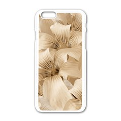 Elegant Floral Pattern in Light Beige Tones Apple iPhone 6 White Enamel Case