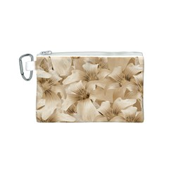 Elegant Floral Pattern in Light Beige Tones Canvas Cosmetic Bag (Small)