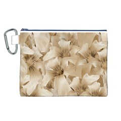 Elegant Floral Pattern in Light Beige Tones Canvas Cosmetic Bag (Large)