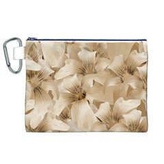 Elegant Floral Pattern In Light Beige Tones Canvas Cosmetic Bag (xl)