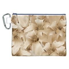 Elegant Floral Pattern in Light Beige Tones Canvas Cosmetic Bag (XXL)