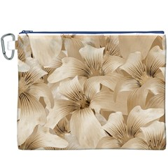 Elegant Floral Pattern In Light Beige Tones Canvas Cosmetic Bag (xxxl)