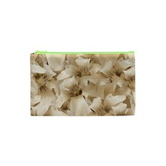 Elegant Floral Pattern In Light Beige Tones Cosmetic Bag (xs)