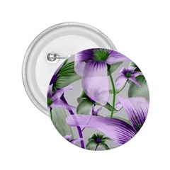 Lilies Collage Art In Green And Violet Colors 2 25  Button