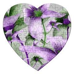 Lilies Collage Art In Green And Violet Colors Jigsaw Puzzle (heart)