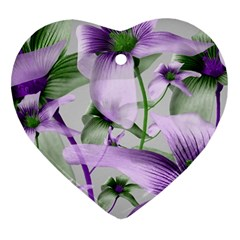 Lilies Collage Art in Green and Violet Colors Heart Ornament (Two Sides)