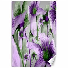 Lilies Collage Art In Green And Violet Colors Canvas 12  X 18  (unframed)
