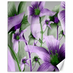Lilies Collage Art in Green and Violet Colors Canvas 16  x 20  (Unframed)