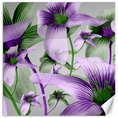 Lilies Collage Art in Green and Violet Colors Canvas 20  x 20  (Unframed)