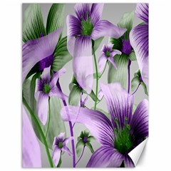Lilies Collage Art in Green and Violet Colors Canvas 18  x 24  (Unframed)