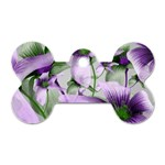 Lilies Collage Art in Green and Violet Colors Dog Tag Bone (One Sided) Front