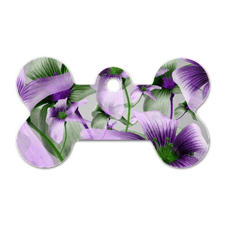 Lilies Collage Art in Green and Violet Colors Dog Tag Bone (One Sided)