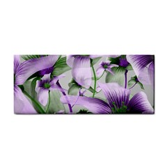 Lilies Collage Art in Green and Violet Colors Hand Towel