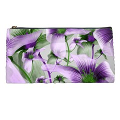 Lilies Collage Art In Green And Violet Colors Pencil Case