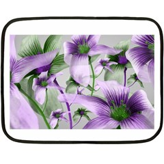 Lilies Collage Art In Green And Violet Colors Mini Fleece Blanket (two Sided)