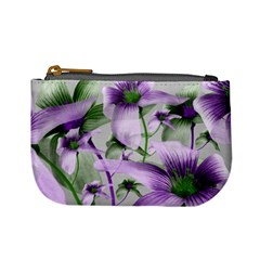 Lilies Collage Art In Green And Violet Colors Coin Change Purse
