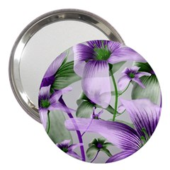 Lilies Collage Art in Green and Violet Colors 3  Handbag Mirror