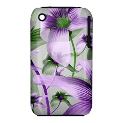 Lilies Collage Art in Green and Violet Colors Apple iPhone 3G/3GS Hardshell Case (PC+Silicone)