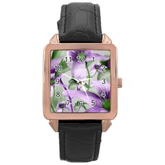 Lilies Collage Art In Green And Violet Colors Rose Gold Leather Watch