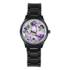 Lilies Collage Art in Green and Violet Colors Sport Metal Watch (Black)