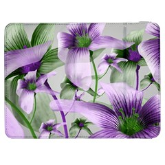 Lilies Collage Art in Green and Violet Colors Samsung Galaxy Tab 7  P1000 Flip Case