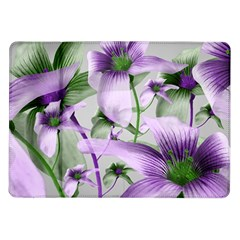 Lilies Collage Art in Green and Violet Colors Samsung Galaxy Tab 10.1  P7500 Flip Case