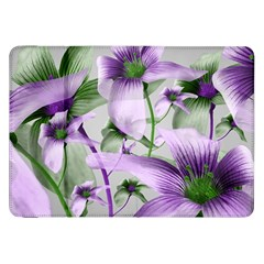 Lilies Collage Art in Green and Violet Colors Samsung Galaxy Tab 8.9  P7300 Flip Case