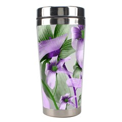 Lilies Collage Art in Green and Violet Colors Stainless Steel Travel Tumbler