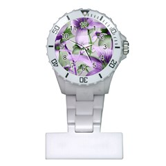 Lilies Collage Art in Green and Violet Colors Nurses Watch