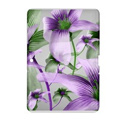 Lilies Collage Art in Green and Violet Colors Samsung Galaxy Tab 2 (10.1 ) P5100 Hardshell Case