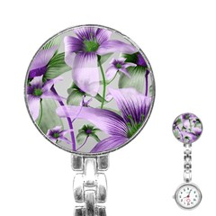 Lilies Collage Art in Green and Violet Colors Stainless Steel Nurses Watch