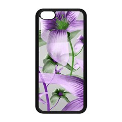 Lilies Collage Art In Green And Violet Colors Apple Iphone 5c Seamless Case (black)