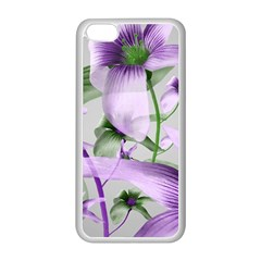 Lilies Collage Art in Green and Violet Colors Apple iPhone 5C Seamless Case (White)