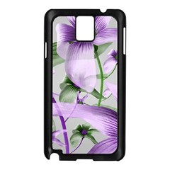 Lilies Collage Art In Green And Violet Colors Samsung Galaxy Note 3 N9005 Case (black)