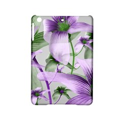 Lilies Collage Art in Green and Violet Colors Apple iPad Mini 2 Hardshell Case