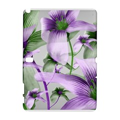 Lilies Collage Art in Green and Violet Colors Samsung Galaxy Note 10.1 (P600) Hardshell Case