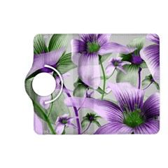 Lilies Collage Art in Green and Violet Colors Kindle Fire HD (2013) Flip 360 Case