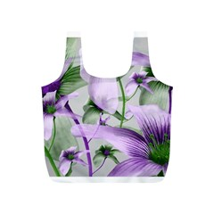 Lilies Collage Art In Green And Violet Colors Reusable Bag (s)