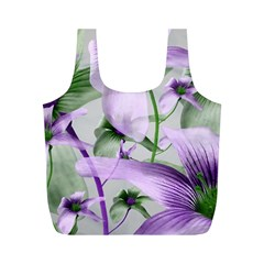 Lilies Collage Art In Green And Violet Colors Reusable Bag (m)
