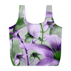 Lilies Collage Art In Green And Violet Colors Reusable Bag (l)