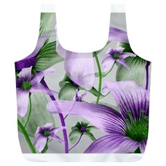 Lilies Collage Art in Green and Violet Colors Reusable Bag (XL)