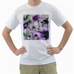 Lilies Collage Art In Green And Violet Colors Men s T Shirt (white)