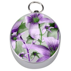 Lilies Collage Art In Green And Violet Colors Silver Compass