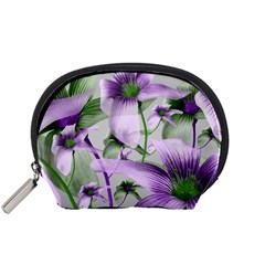 Lilies Collage Art in Green and Violet Colors Accessory Pouch (Small)